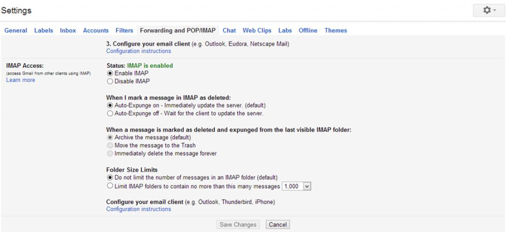 cài đặt imap pop để thiết lập gmail trên triển vọng