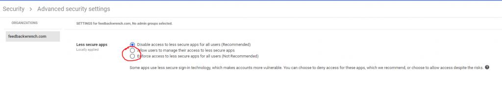 Các ứng dụng kém an toàn hơn từ gmail nằm trong bộ g