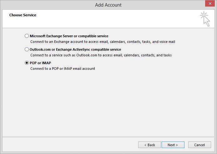Gmail về triển vọng chọn cài đặt imap hoặc pop