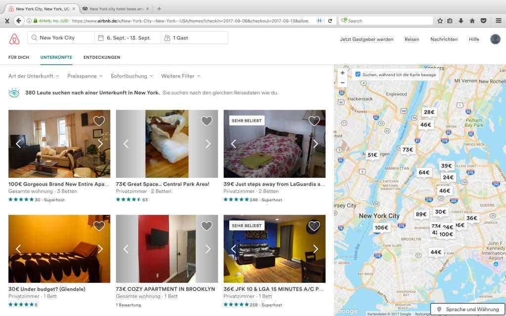 Airbnb normale Suche