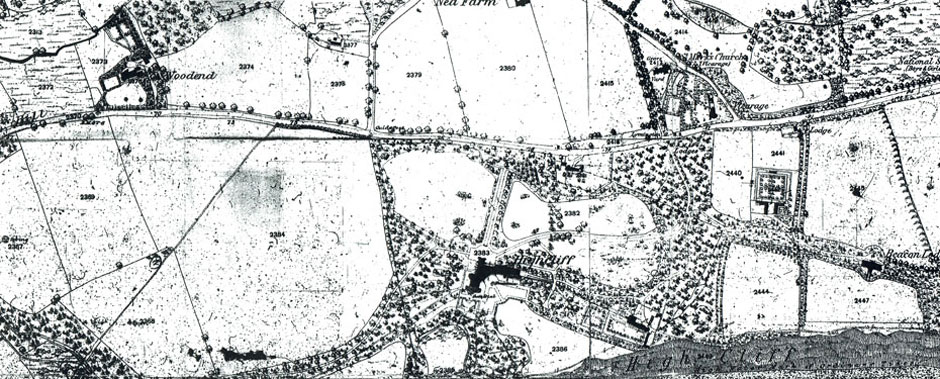 Old map showing Highcliffe Castle
