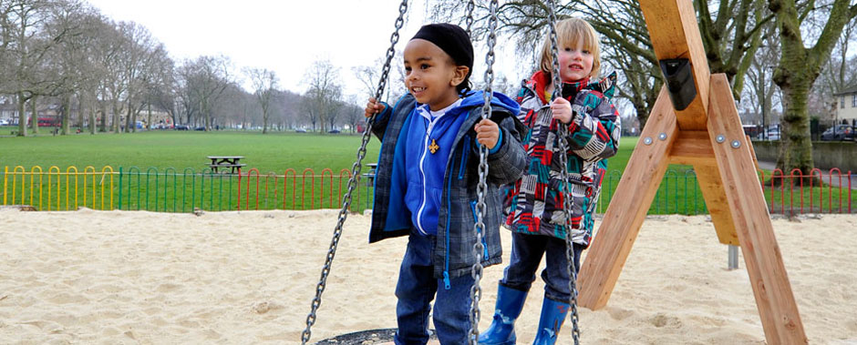 Swing at Millfields Park Play Space