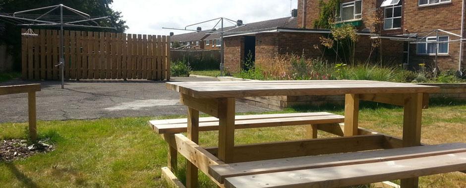 Benches in Sovereign Housing Association garden