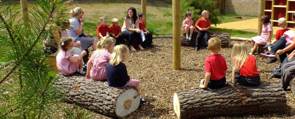Outside seating at Turlin Moor Community School