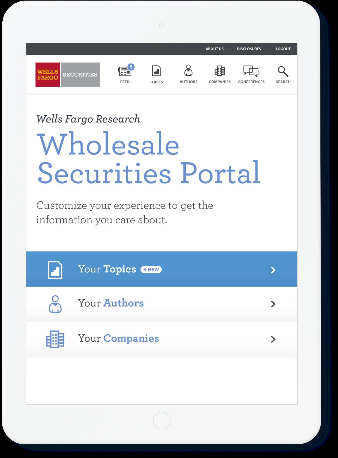 Wells Fargo Personalized Tablet Portal