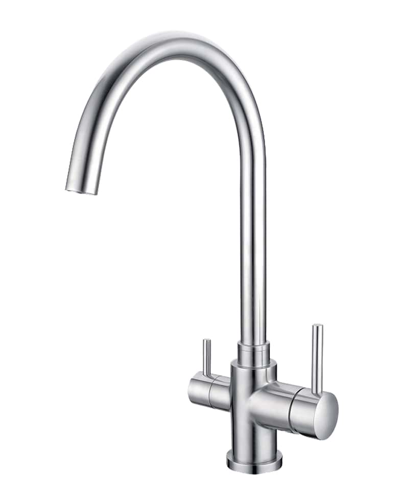 3 Way Mixer Tap High Loop Brushed Stainless Steel