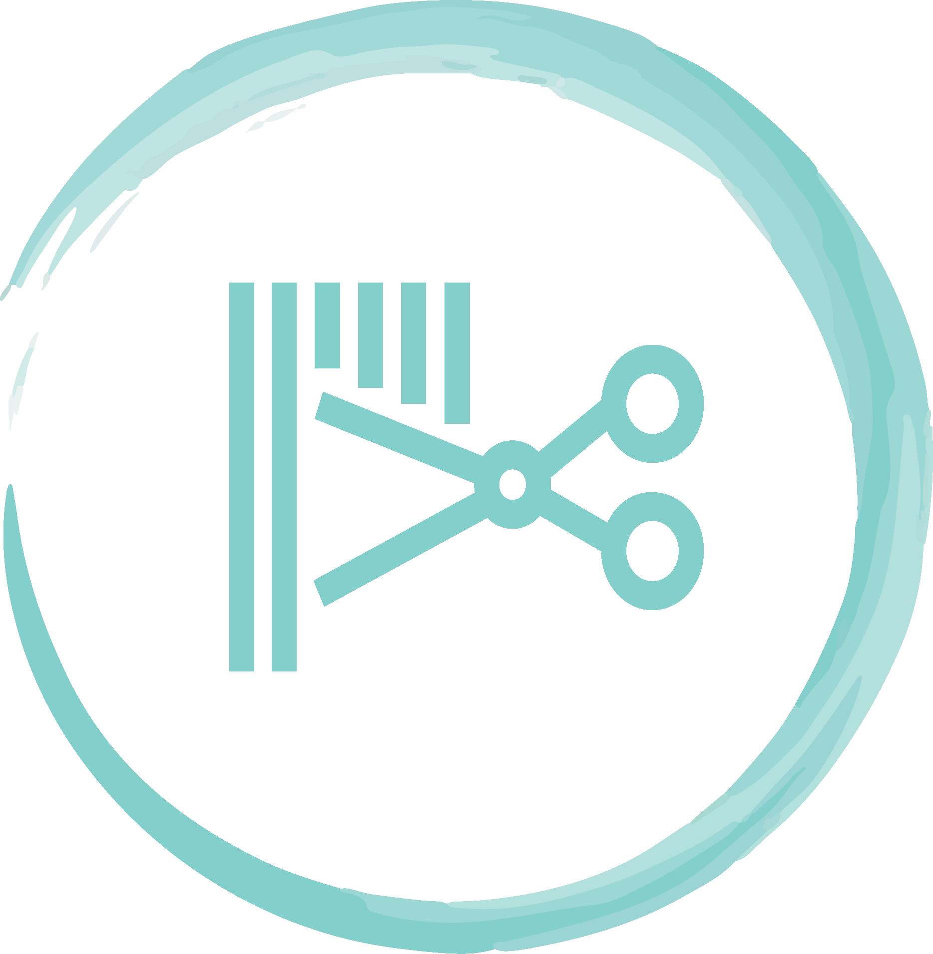 An icon of scissors cutting hair.