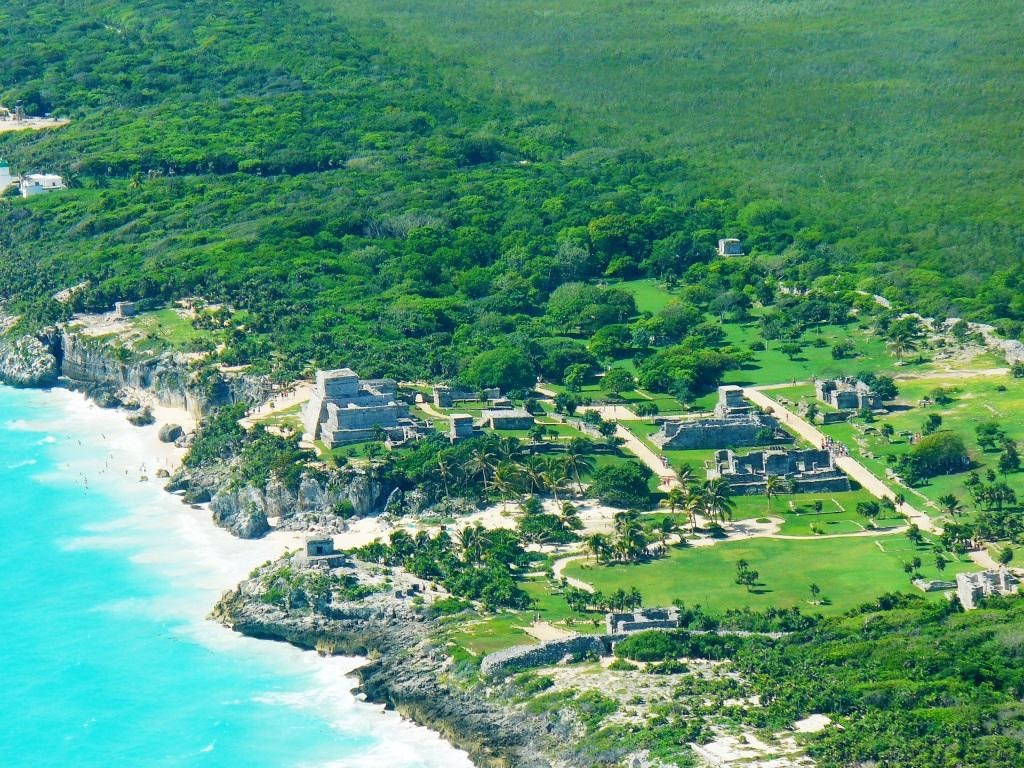 Aerial view of the archaeological zone of Tulum.