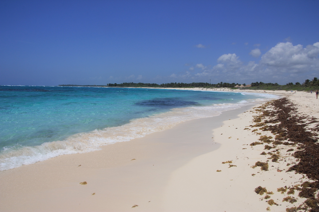 Xcacel is one of the beaches with coral reefs.