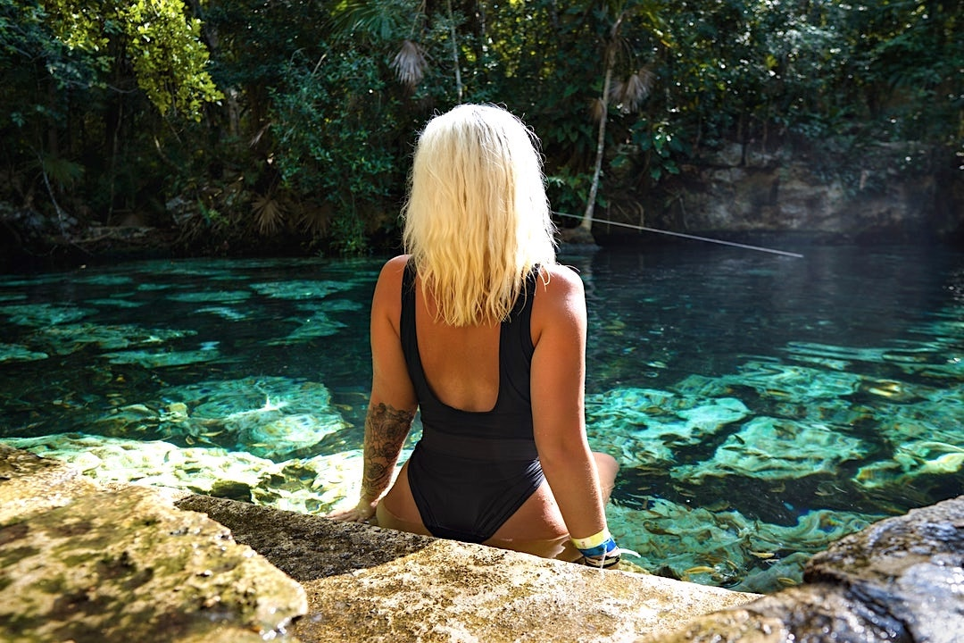 Woman in the Gran Cenote
