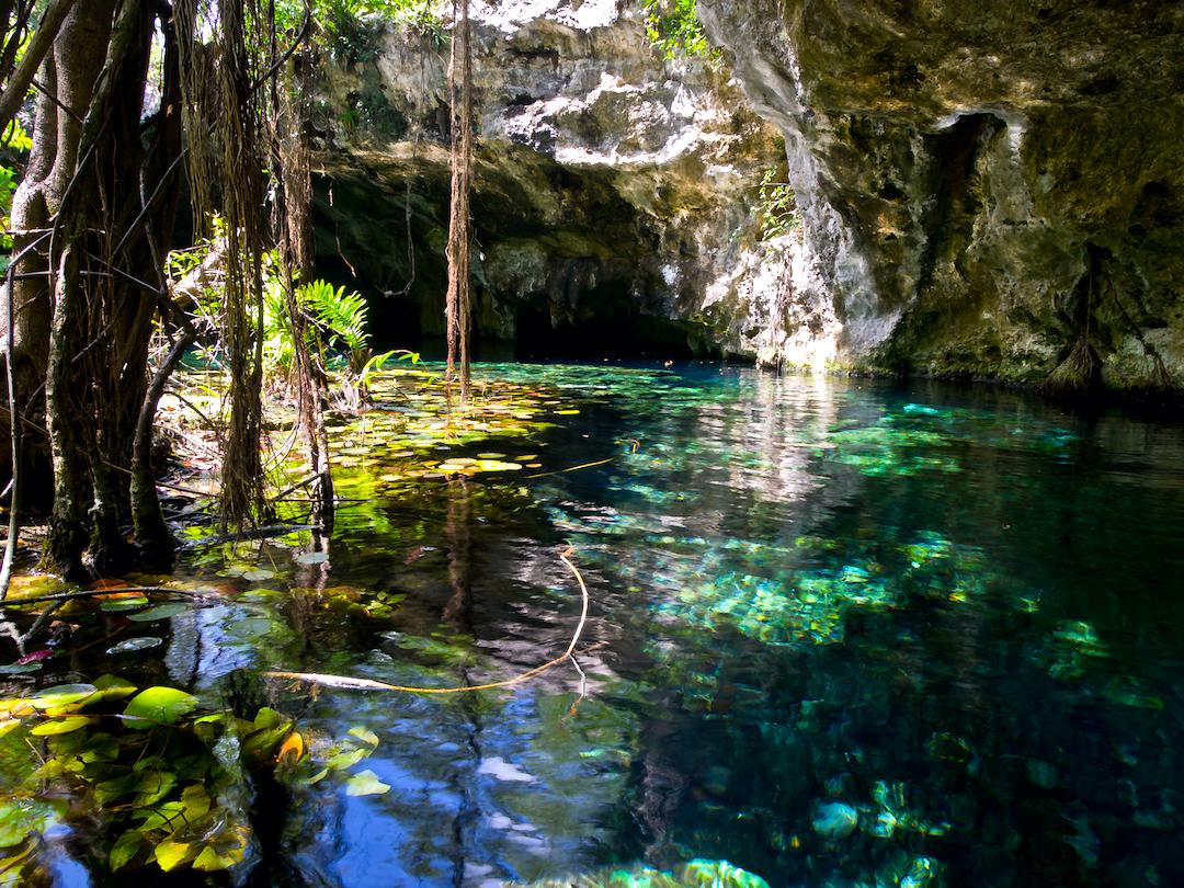 Vista del exterior del Gran Cenote.