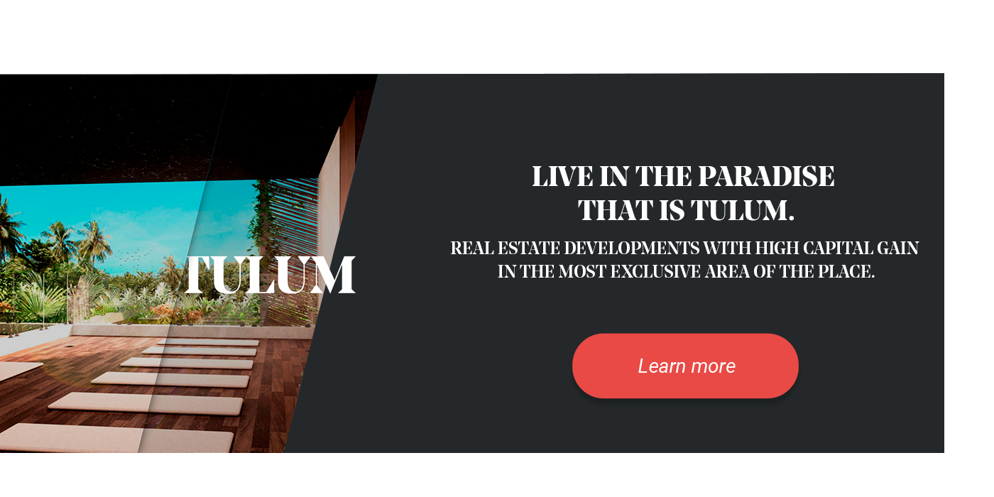 Banner of real estate developments in Tulum.