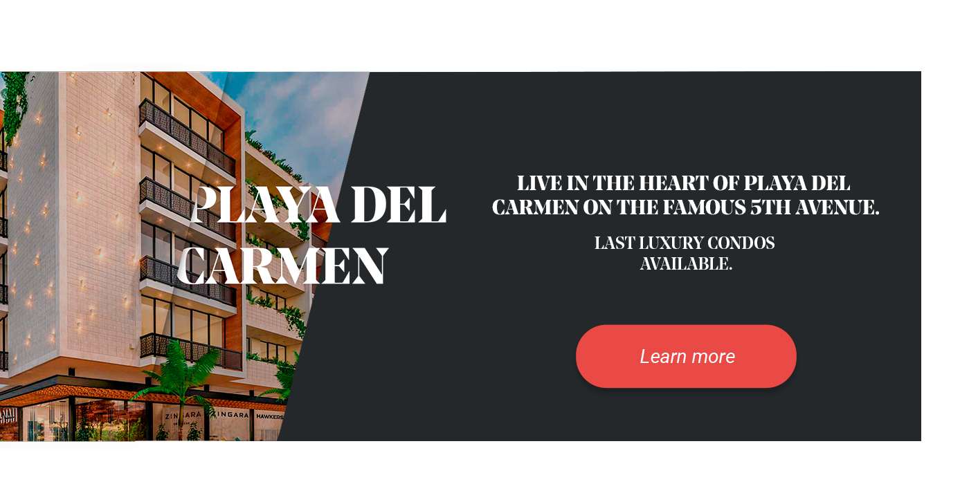 Banner of real estate developments in Playa del Carmen.