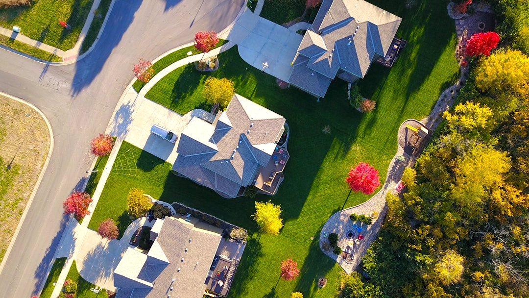 Aerial view of houses.