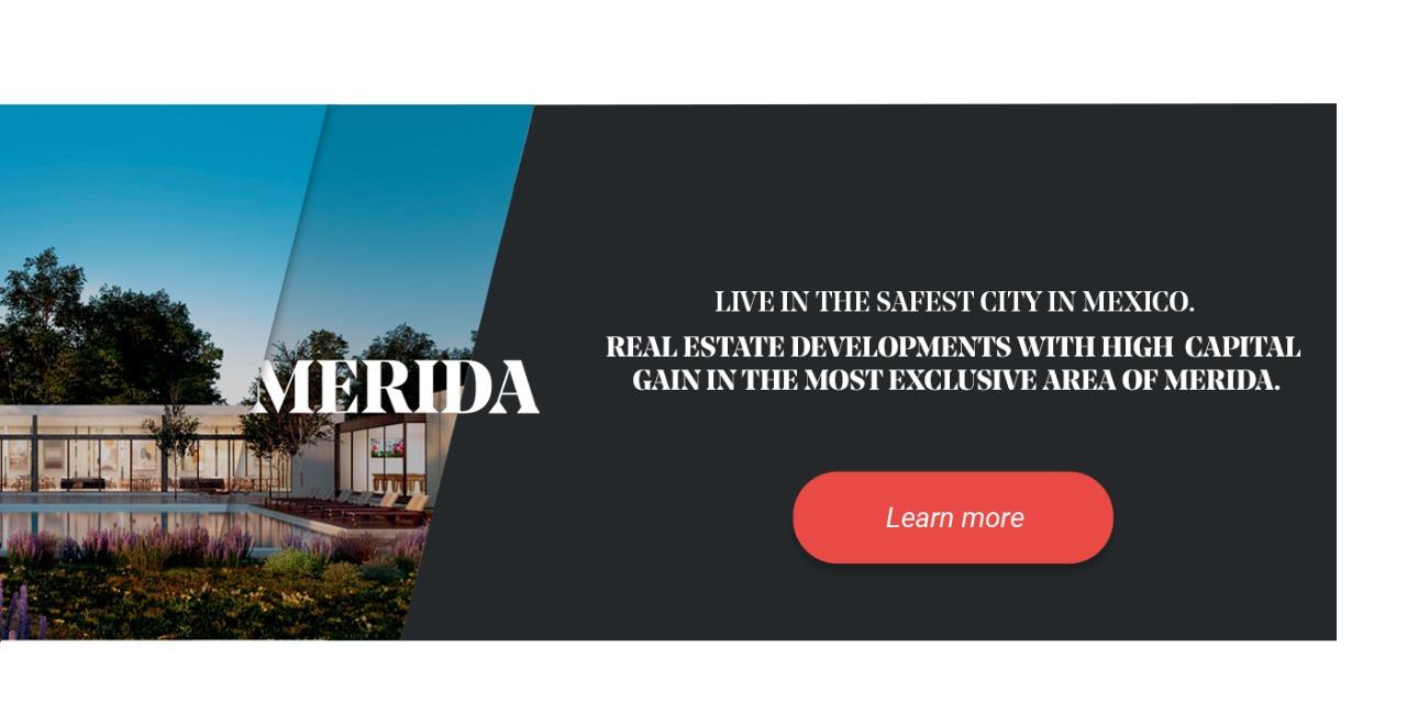 Banner of real estate developments in Merida.