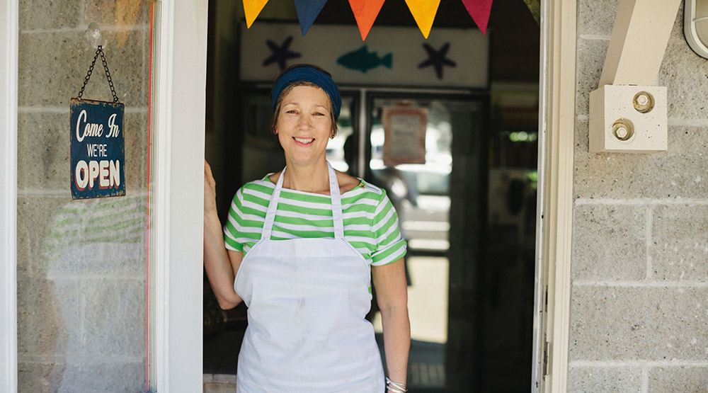 A woman living out her dream of owning a bakery in retirement