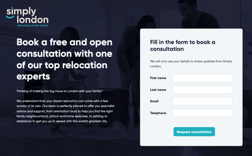 A landing page.