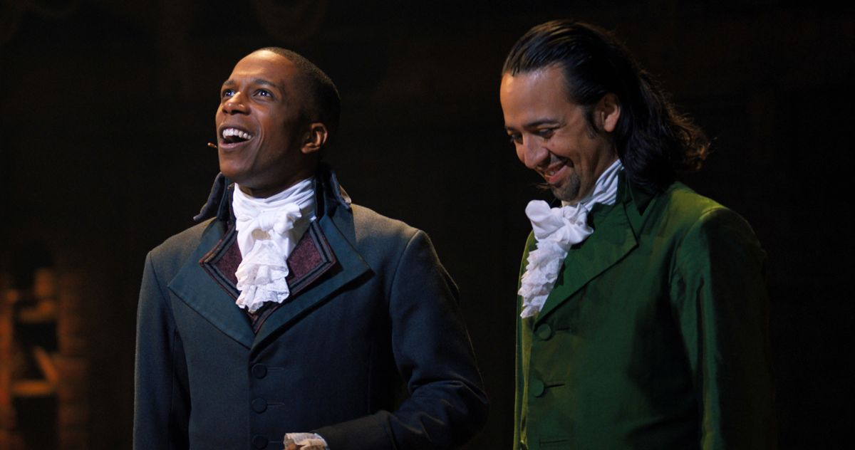 Leslie Odom Jr. as Aaron Burr and Lin-Manuel Miranda as Alexander Hamilton in Hamilton. Disney