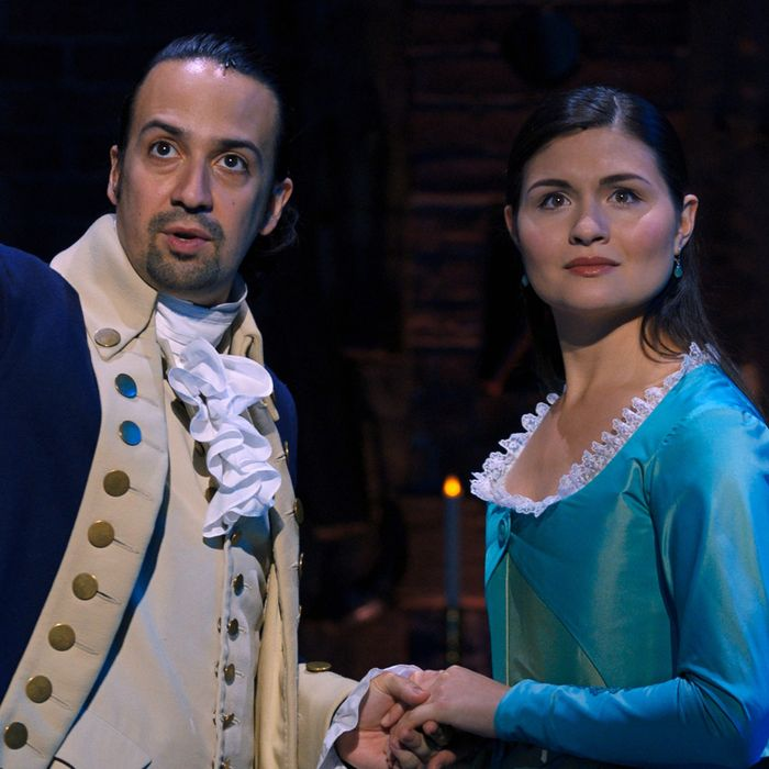 "The original Broadway stars of ""Hamilton"" including Lin-Manuel Miranda (in the title role) and Philippa Soo (as Hamilton's wife Eliza) were filmed in 2016 for this movie edition. Disney+"