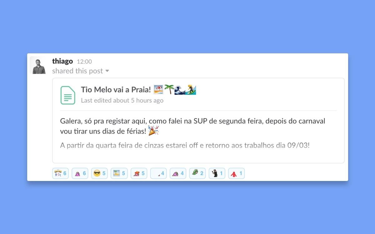 [Thiago Oliveira](undefined) avisando que vai tirar uns dias de férias.