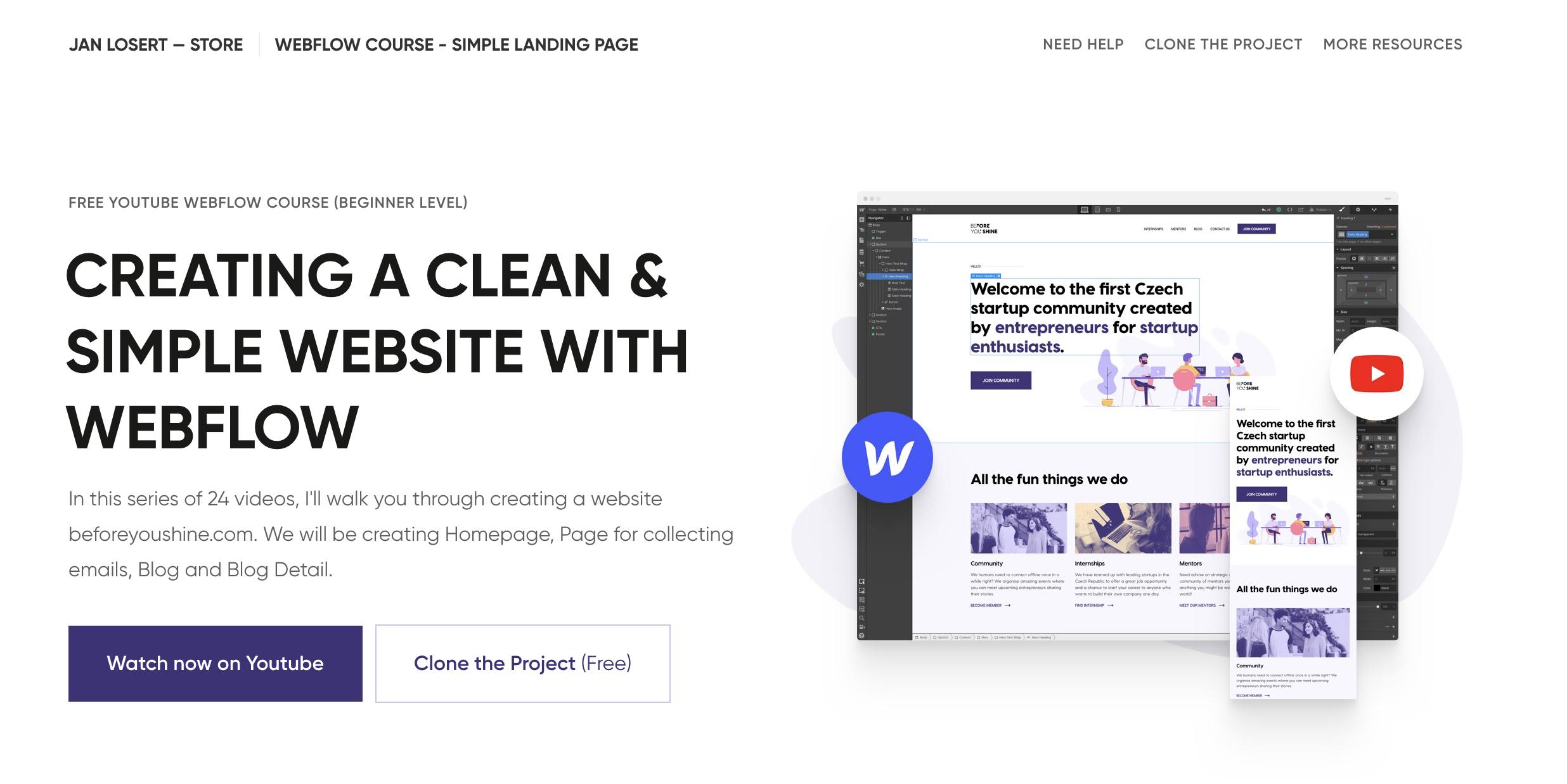 CREATING A CLEAN & SIMPLE WEBSITE WITH WEBFLOW