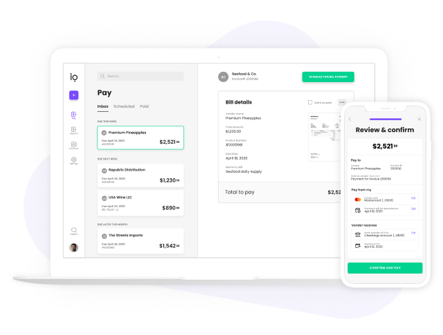 Melio's bill pay dashboard on desktop and mobile
