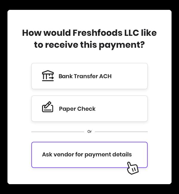 Ask for vendor payment details button