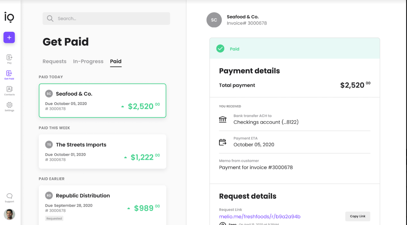 Track incoming payment status screenshot - Melio