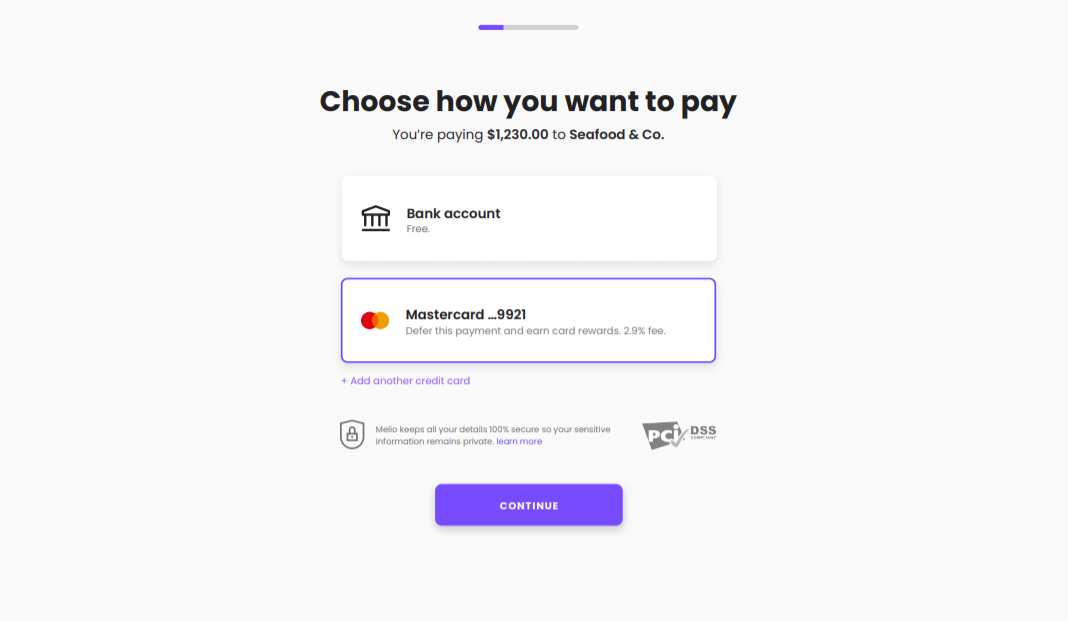 Choose how to pay screenshot - Melio