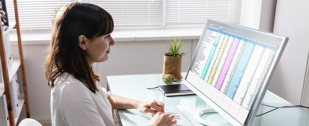 Bookkeeper reviewing financial charts