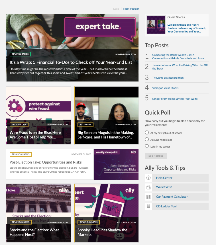 ally financial content hub