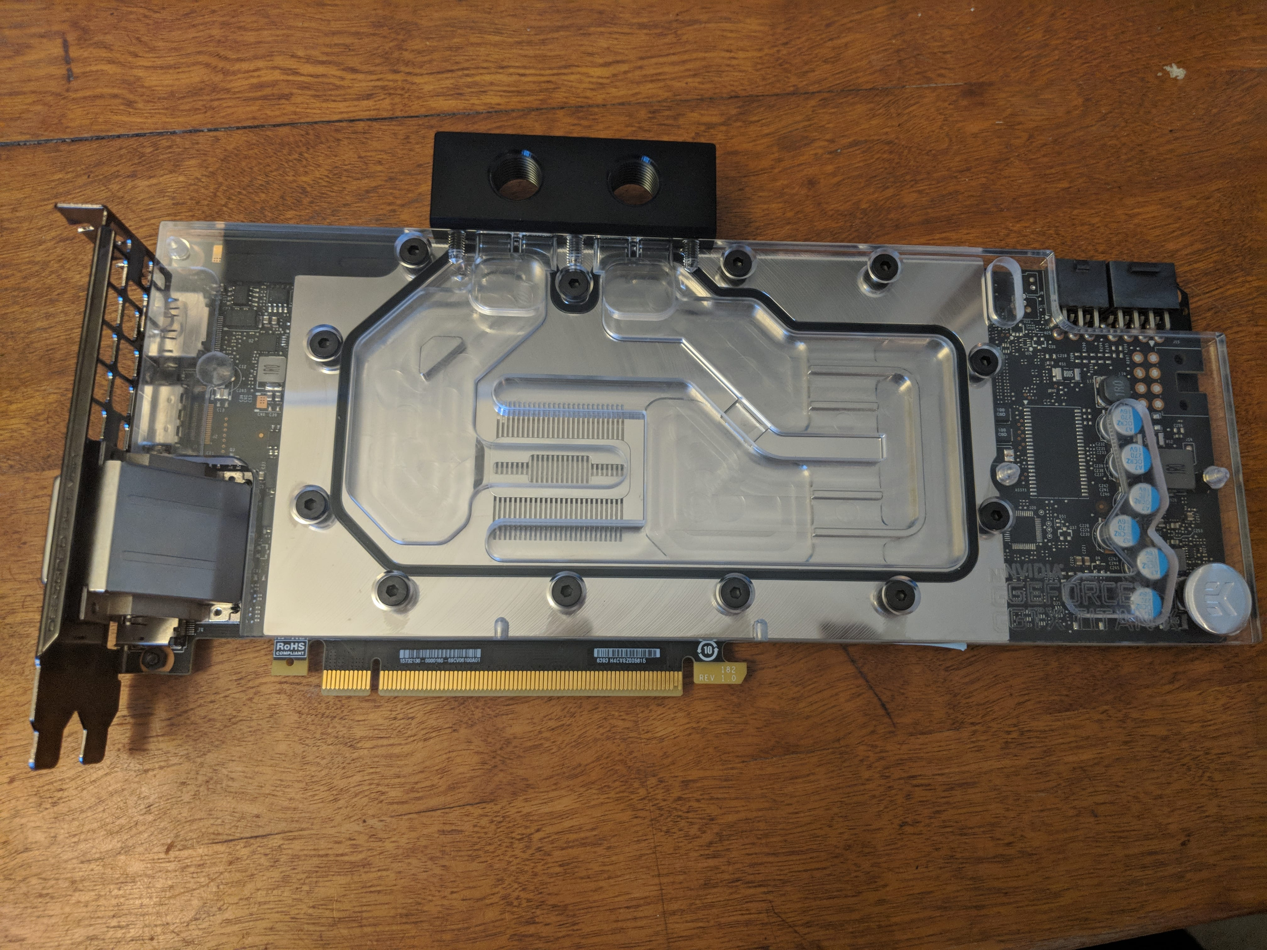 graphics card with water block installed