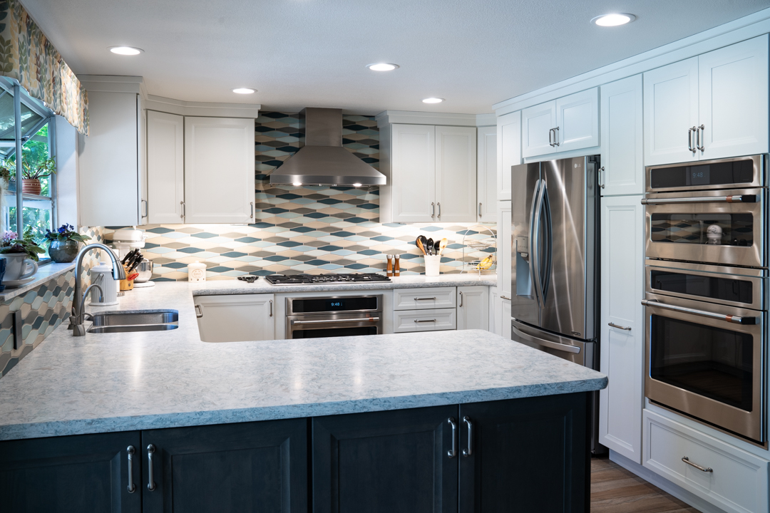 Dishwasher and sink, light grey cabinets and white counters