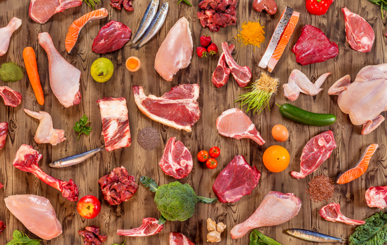 Ingredients of a species appropriate diet for a dog include muscle meat, bones and offal form different animals, fruit and veggies.