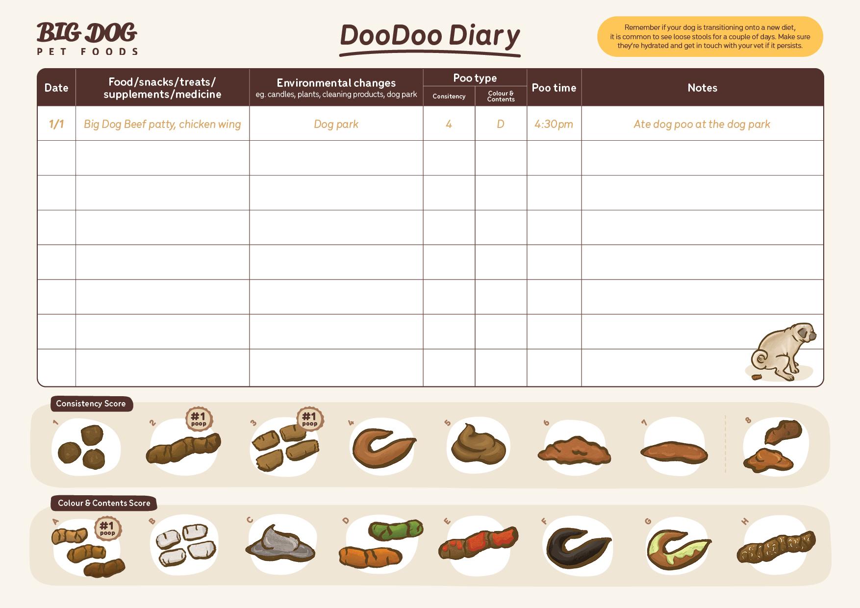 Big Dog Pet Foods Doo Doo Diary