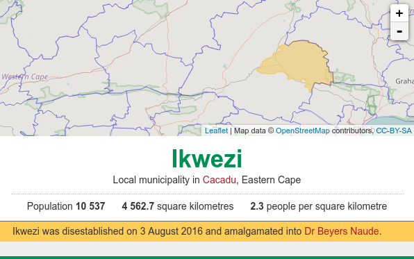 Ikwezi municipality disestablished map