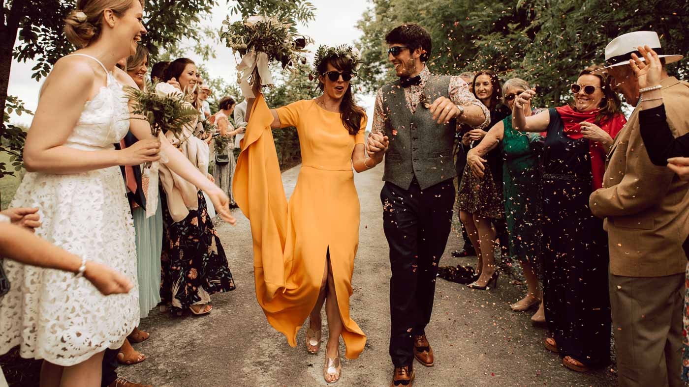 Featured on One Fab Day. It's rare, and I mean rare to photograph a wedding as cool, hip, and alternative as this one! The bride has a funky retro yellow dress, and talk about—pulling it off! Incredible style, matched by her hubby, who looked so darn cool. All-day felt completely unlaboured and effortless—super chilled. Mount Druid is undoubtedly ideal for such weddings.