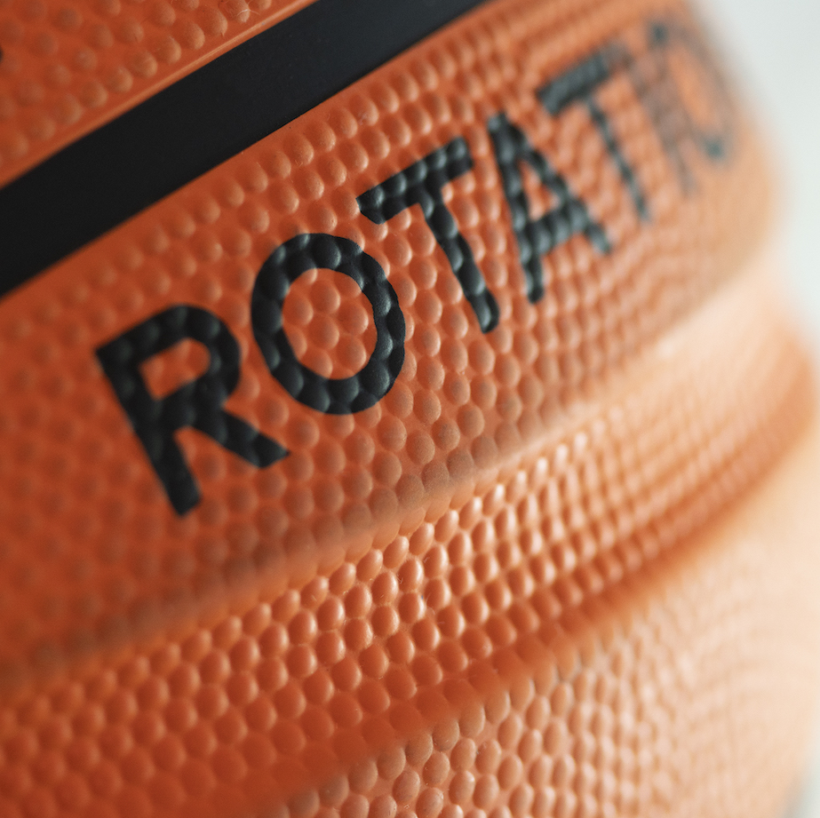 Patented grooves on Perfect Rotation Basketball