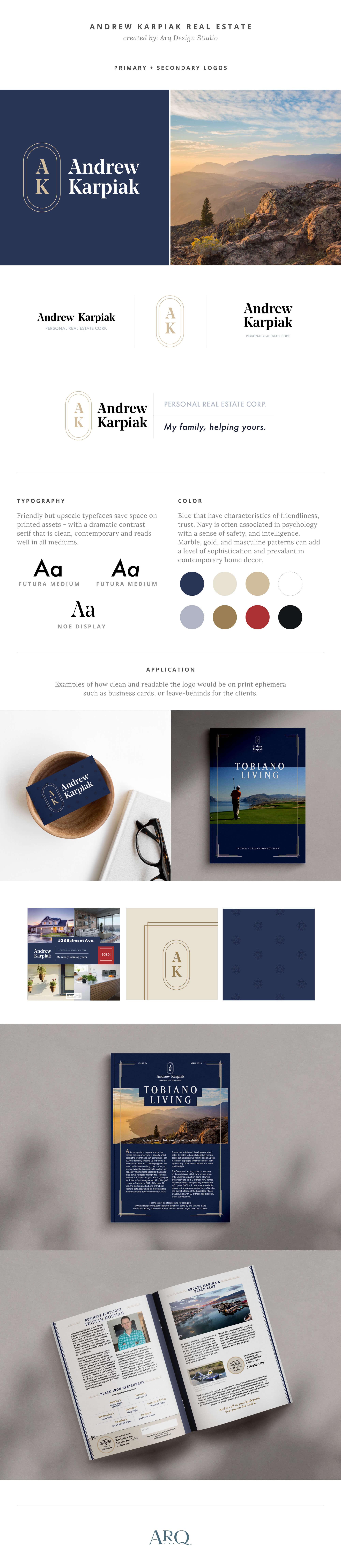 Brand presentation of Andrew Karpiak logo and identity design refresh