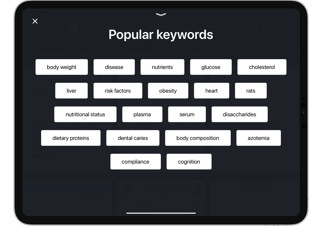 In-Person iPad Content Keywords App