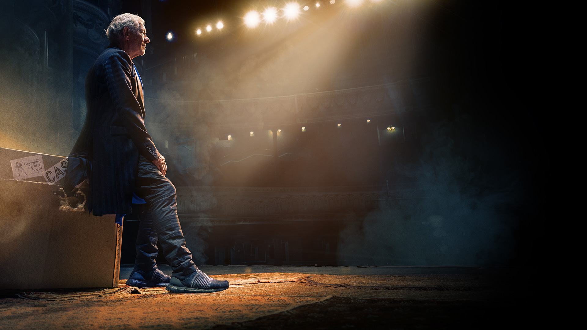 Production image for Ian Mckellen, featuring him on the stage