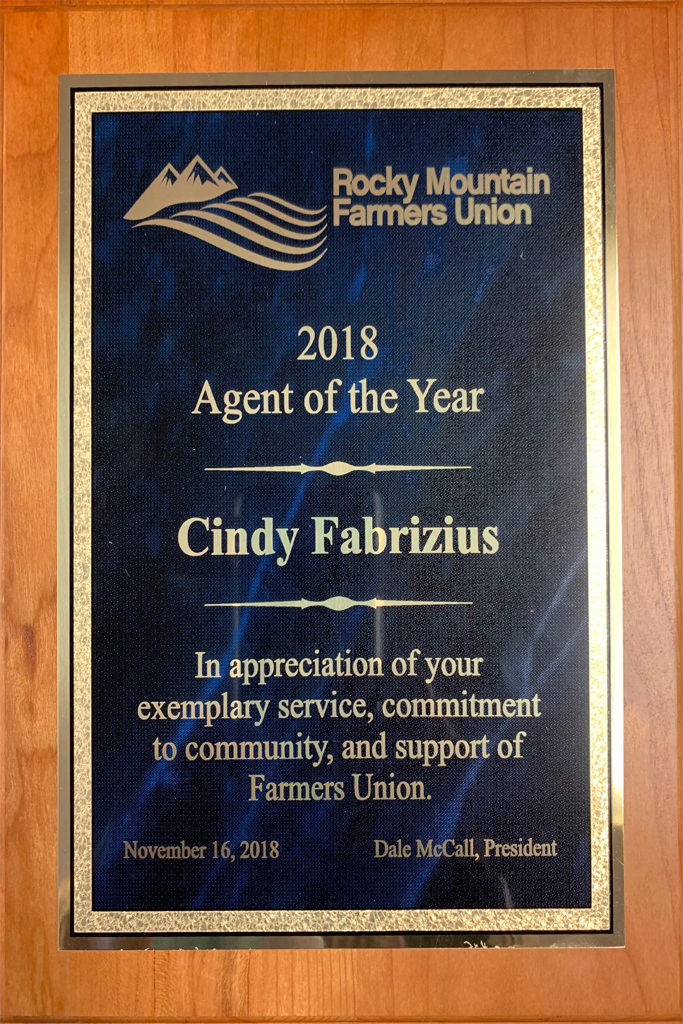 Rocky Mountain Farmers Union 2018 Agent of the Year - Fabrizius Insurance Wyoming