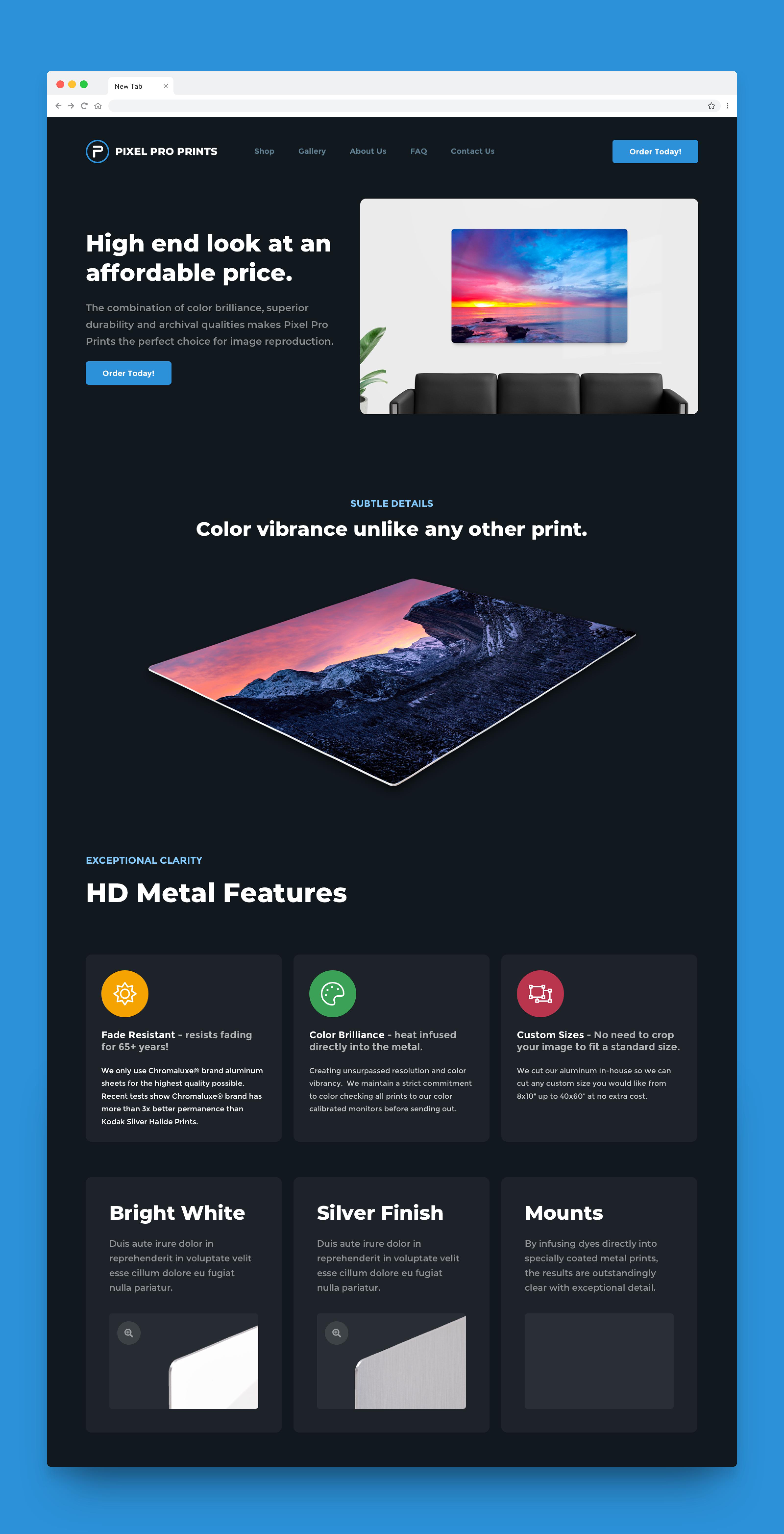 Full Screenshot of Pixel Pro Prints Website