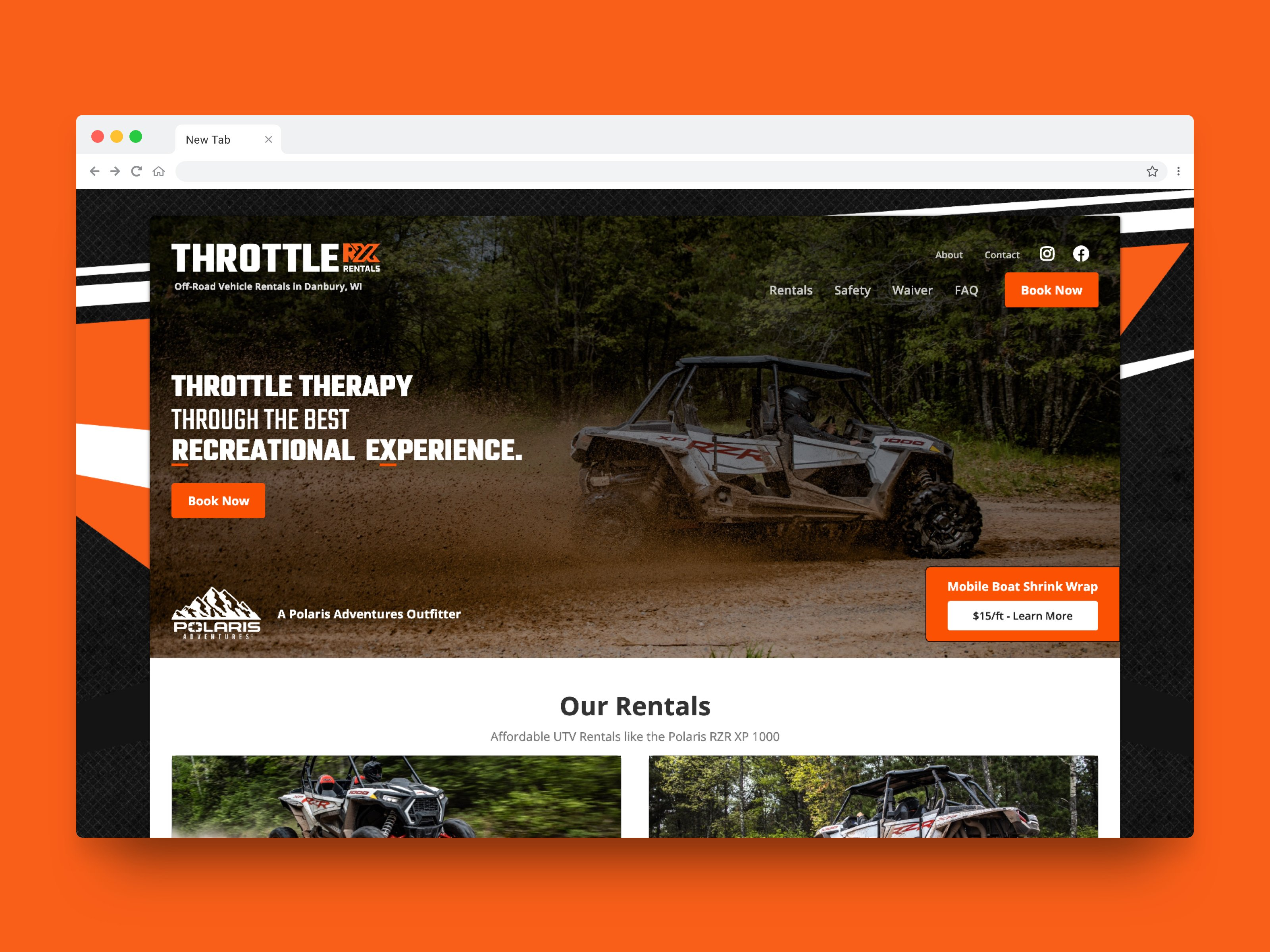 Screenshot of Throttle RX Rentals Website