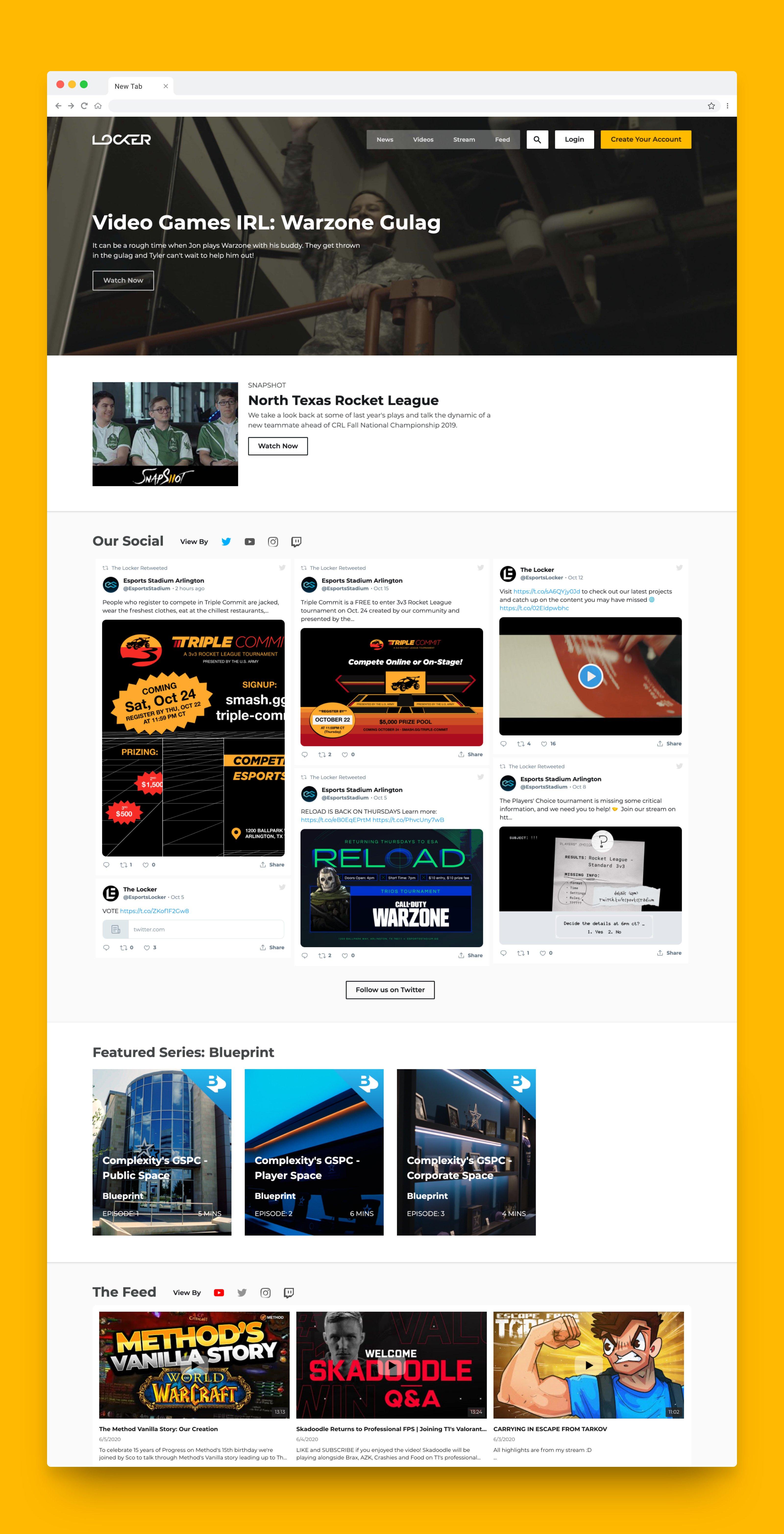 Full Screenshot of Esports Locker Website