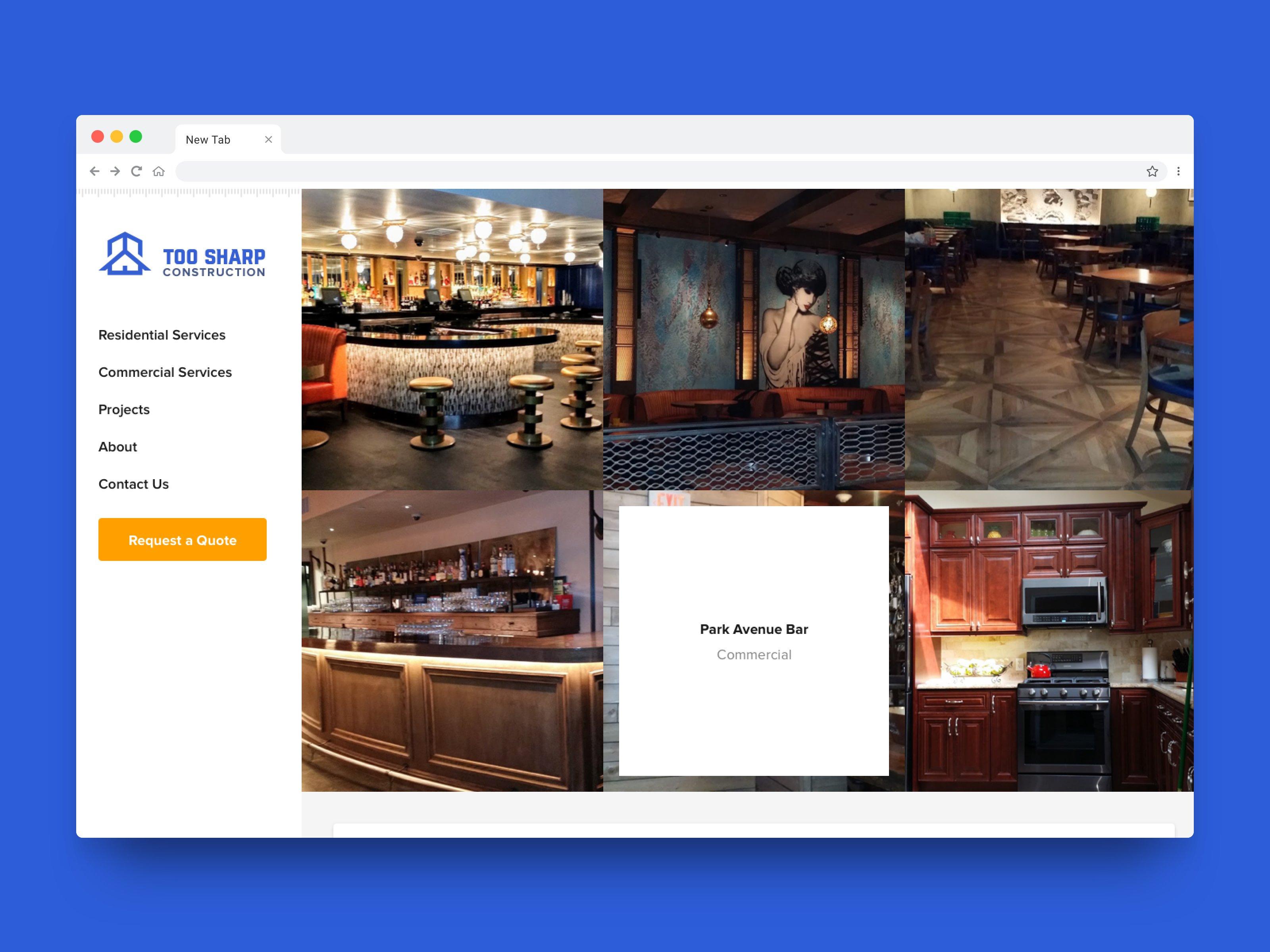 Screenshot of Too Sharp Construction Website