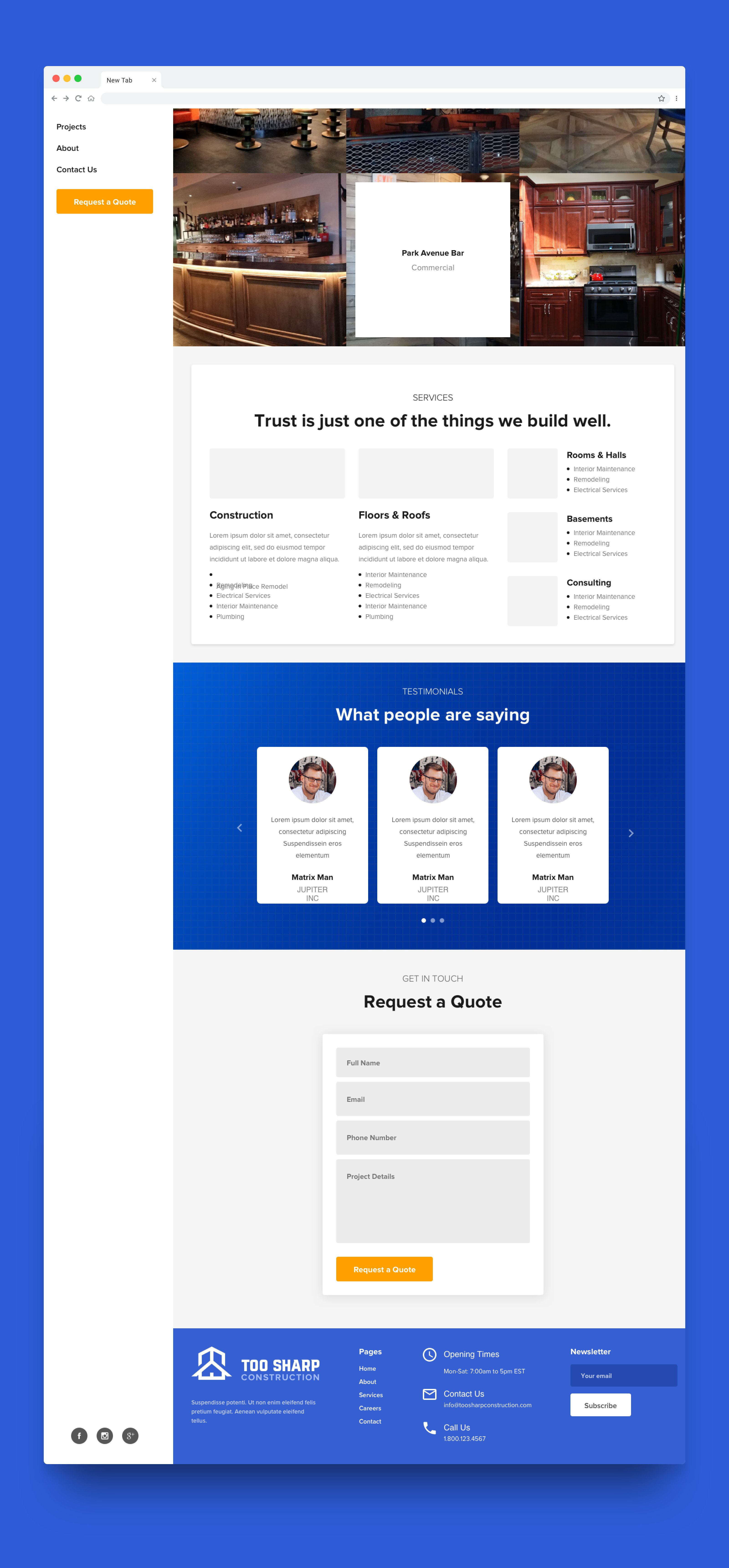 Full Screenshot of Too Sharp Construction Website