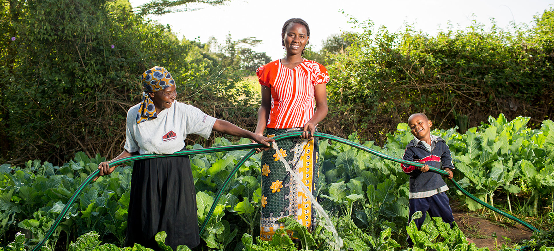 Young woman smiling while holding hose in a field of leafy crops. Older woman smiling and spraying hose on her left and young boy smiling while holding hose on her right.