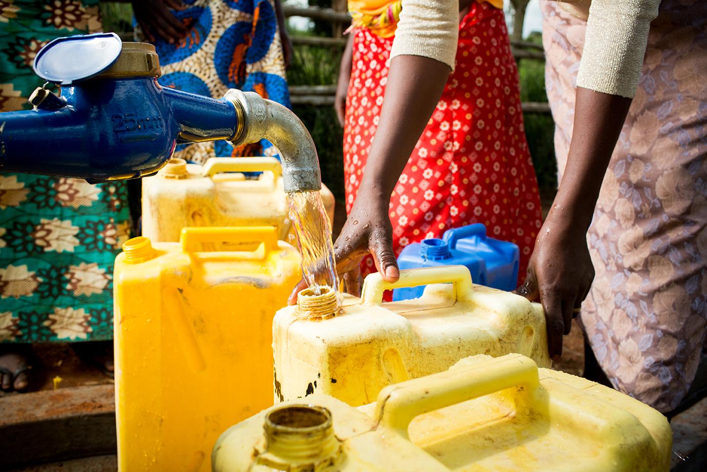 Women getting water in Uganda