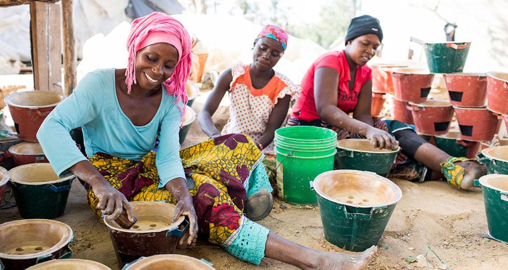 Women making stoves in Tanzania